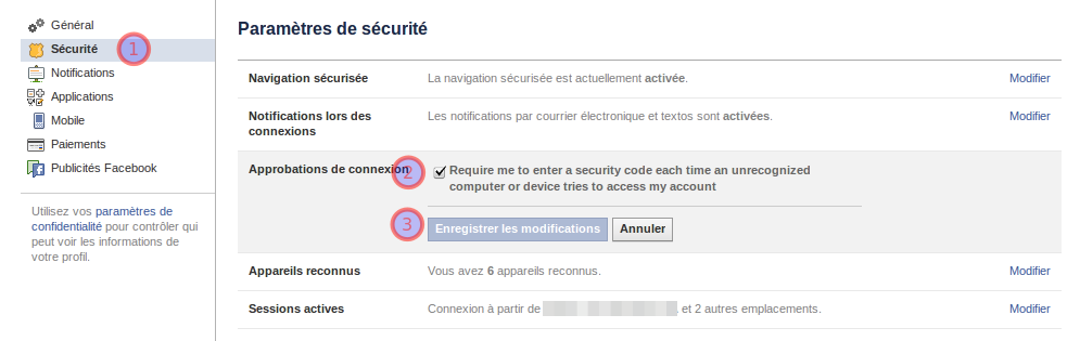 Activation sécurité facebook