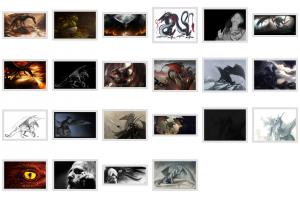 """Montage de dragons réalisé avec """"montage"""" de la suite imagemagick"""