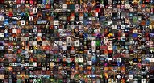 """Montage de pochettes d'albums réalisé avec """"montage"""" de la suite imagemagick"""